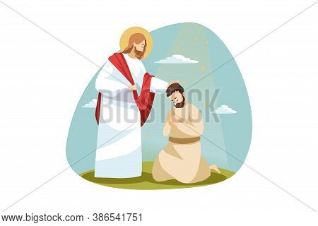 Religion, Bible, Chistianity Concept. Jesus Christ Son Of God Biblical Religious Charcter Consolling