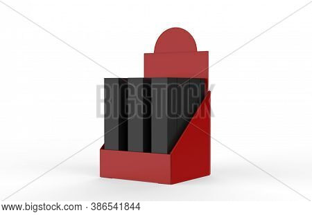 Pos Poi Cardboard Display With Box For Advertising Fliers, Leaflets, Products. 3d Illustration Isola