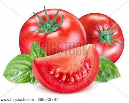 Tomatoes with basil leaves and tomato slices isolated on a white background. Clipping path.