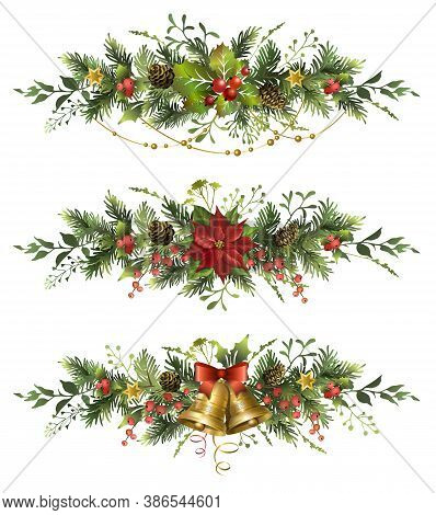 Set Of Christmas Fir Garlands With Golden Bells, Poinsettia Flower And Red Berries.
