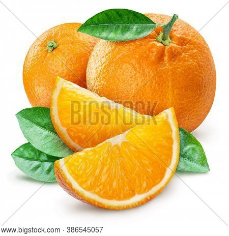 Orange fruits with leaves and orange slices isolated on a white background. Clipping path.