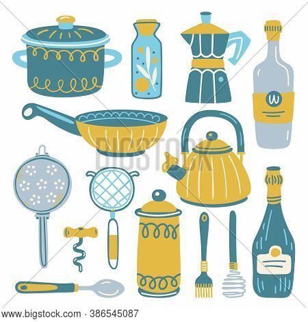 Set With Kitchen Utensil And Appliance. Scandinavian Illustration Of Kitchen Elements In Flat Style.