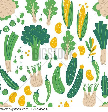 Seamless Pattern Of Green Vegetables. Flat Hand Drawn Illustration With Healthy Food. Organic Produc