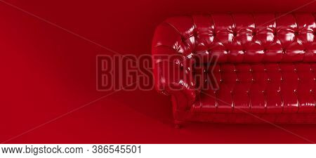 Red Quilted Leather Sofa On Red Background View From Above. Creative Concept Of Minimalistic Interio