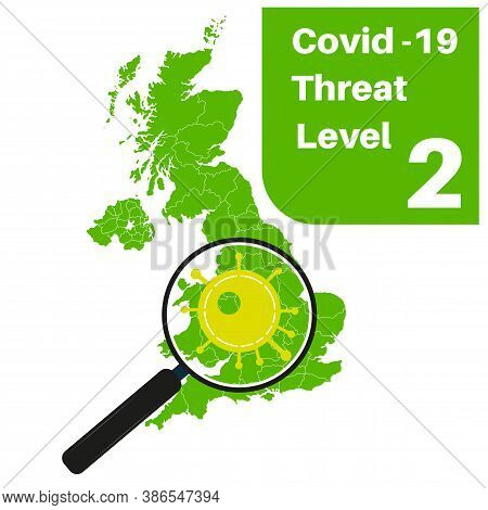 Covid-19 Uk Threat Level 2 (green) With Map And Magnifying Glass