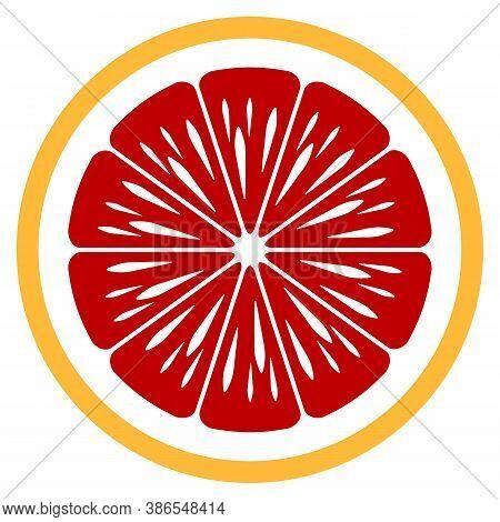 Orange Fruit Slice Vector Art Graphic Isolated On White Background