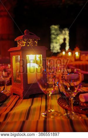 Candle In Lantern For Catering & Decor Purposes At Corporate Christmas Gala Event Party