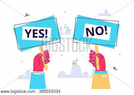 Cartoon Vector Illustration Of Yes No Banner In Human Hand On White Background. Test Question. Choic