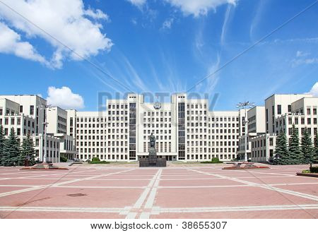 Parliament building on the Independence square in Minsk. Belarus. The building completed in 1934 together with Lenin statue. poster