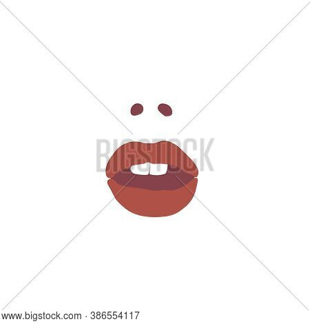 Female Mouth Icon With Nostrils, Scarlet Lips, White Teeth Isolated On White Background. The Emotion