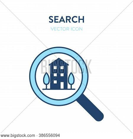 Apartment House Search Icon. Vector Illustration Of A Magnifier Tool With Apartment House Building E