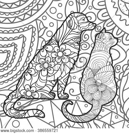 Square Abstract Pattern With Ornate Dog And Cat. Hand Drawn Patterns. Design For Spiritual Relaxatio