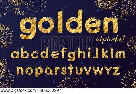 Golden Sparkle Bubbles Font, Funny Gold Alphabet, Luxury Letters And Shine. Vector Abc Xmas Icon Des