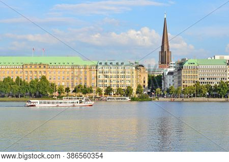 Germany. Beautiful Quay And The Lake Alster In Hamburg