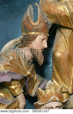 KRAPINA, CROATIA - JULY 01, 2013: Saint Erasmus statue on the altar of Fourteen holy helpers in Church of Our Lady of Jerusalem at Trski Vrh in Krapina, Croatia
