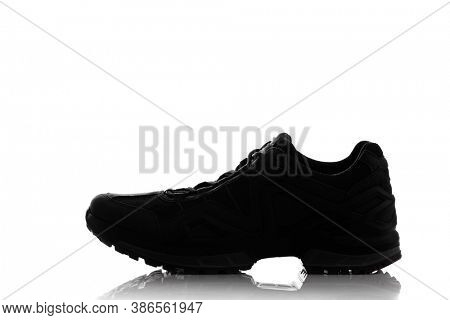 trekking sneaker silhouette, isolated on white