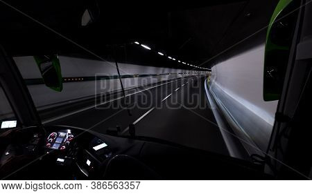 11,611 Km Long Highway Tunnel Under The Highest Apls Mountain Well Known As Mont Blanc Tunnel. Insid