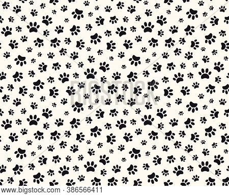 Simple Dog Paw Print Seamless Pattern, Puppy Footprints, Black On White Background. Hand Drawn Vecto