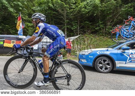Le Bourget-du-lac, France - July 9, 2017: The Italian Cyclists Gianluca Brambilla Of Omega Pharma-qu