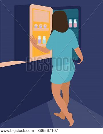 Night Hunger.girl Opens The Refrigerator In The Dark And Thinks What To Eat.the Difficulties Of Losi