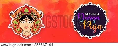 Navratri Illustration Of Maa Durga In Happy Durga Puja Durga Face With Background . Abstract Design