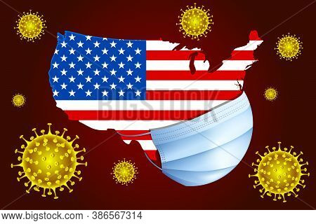 Usa In A Medical Mask Protects Itself From Covid-19.  Coronavirus Or Corona Virus Concept.