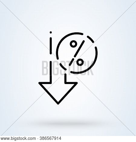 Percent Down Sign Line Icon Or Logo. Interest Rate Reduction Or Percent Down Concept. Down Arrow Dis