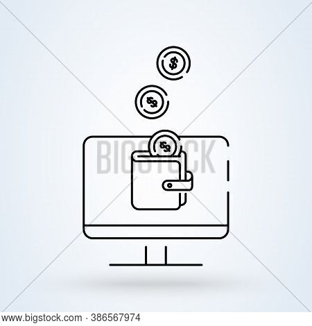 Online Income Money In Electronic Wallet Sign Line Icon Or Logo. Computer Networks, Internet-based M