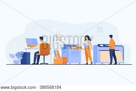 Print House Workers Using Computers And Operating Big Commercial Printers For Printing Banners And P