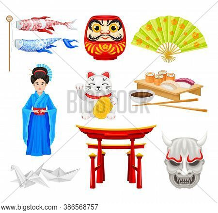 Japan Symbols With Origami Figures And Geisha Girl Vector Set