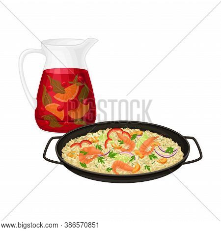 Rice With Shrimps And Herbs And Sangria Drink From Red Wine With Fruit And As Spanish Vector Illustr