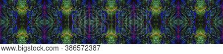 Batik Multicolor Design.  Multicolor Natural Ethnic Illustration. Neon Fluorescent Textile Print. As
