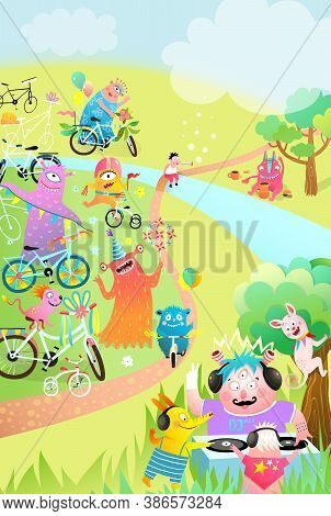 Kids Monster Bicycle Party Or Festival Outdoors In Nature With Trees And River. Poster, Flyer Design