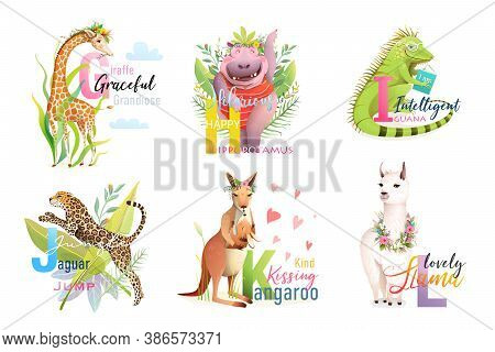 English Language Alphabet Letters With Animals For Teaching And Studying Collection. Giraffe, Hippo,