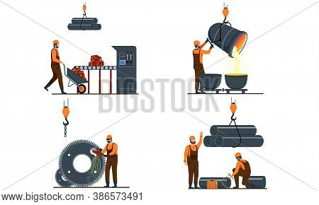 Set Of Metallurgy Industry Illustrations Showing Metal Products, Smelting And Production And Manufac