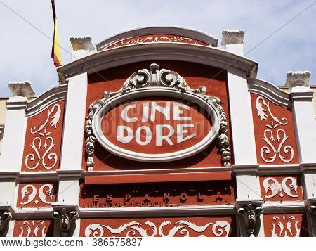 Madrid, Spain, August 15, 2015: Colorful Modernist Style Facade Of Cine Dore, Home Of The National F