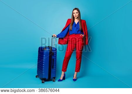 Full Length Photo Of Attractive Business Lady Hold Big Rolling Suitcase Have Corporate Trip Wait Reg