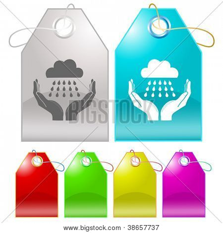 weather in hands. Raster tags. Vector version is in my portfolio.