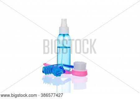 Skin Care Set Isolated On White Background. Transparent Bottle With Liquid Facial Moisturizing Spray