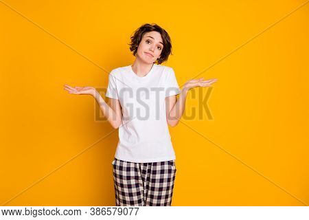 Portrait Of Frustrated Upset Unsure Girl Have No Idea How Sleep While Her Roommate Celebrate Party H