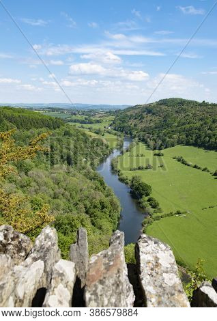 View From Symonds Yat Rock Showing View Of Distant Hills, River Wye And Forests With Close-up Of Sto