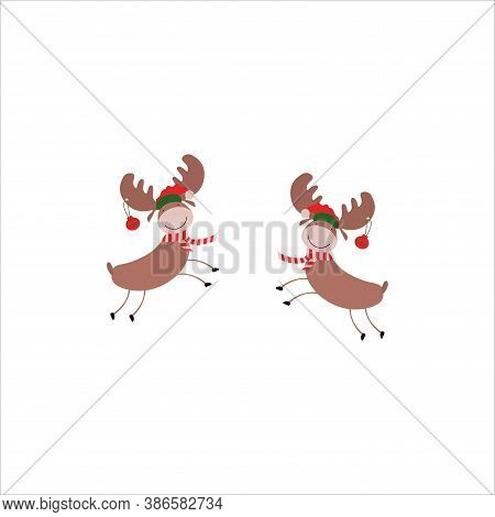 Cute Little Fawn With Antlers, Christmas Reindeer With Christmas Paraphernalia. Vector Illustration