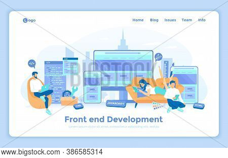 Frontend Development, Creating A Site Layout, Template. The Programmer Is Developing A Website Ui Ux