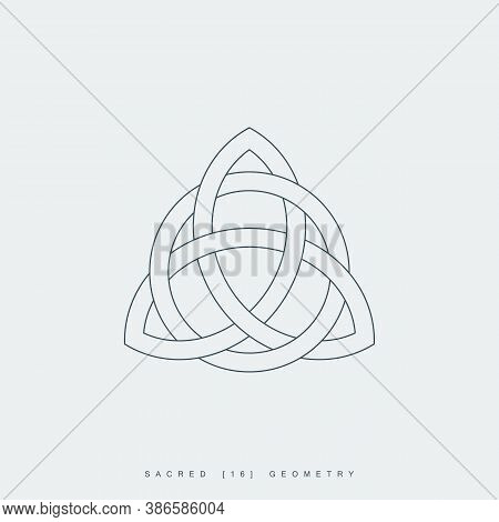 Thin Line Triquetra Symbol Interlaced With A Circle. Outline Celtic Trinity Knot Icon. Lineart Trini