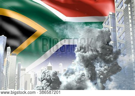 Large Smoke Pillar In The Modern City - Concept Of Industrial Explosion Or Terroristic Act On South