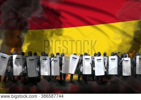 Bolivia Police Guards In Heavy Smoke And Fire Protecting State Against Revolt - Protest Fighting Con