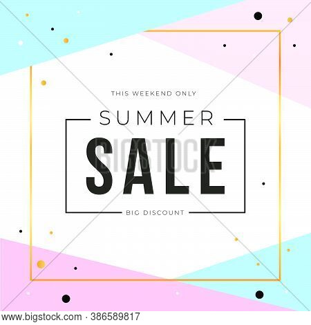 Sale Banner Template Design With Gold Square Frame And Summer Sale Word. Social Media Banner Templat