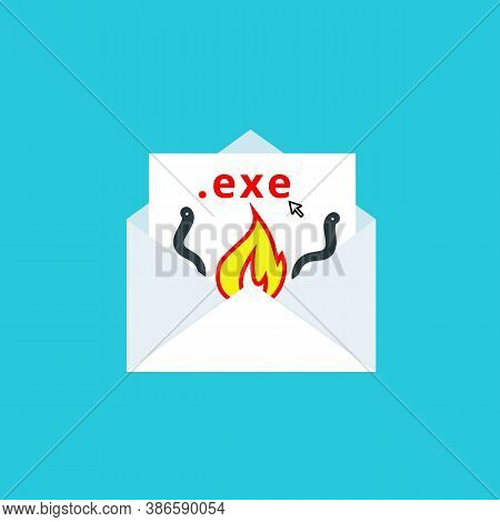 Email Spam, Fraud. An Attachment Infected With A Virus. Malware. Danger Warning. Vector Illustration