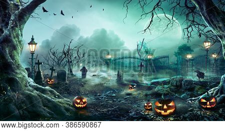 Jack O\' Lanterns In Graveyard In The Spooky Night - Halloween Backdrop - Contain 3d Illustration