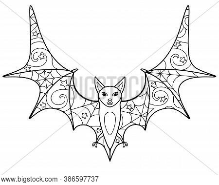 Bat - Coloring Antistress - Vector Linear Picture For Coloring. Bat - With Anti-stress Patterns. Out